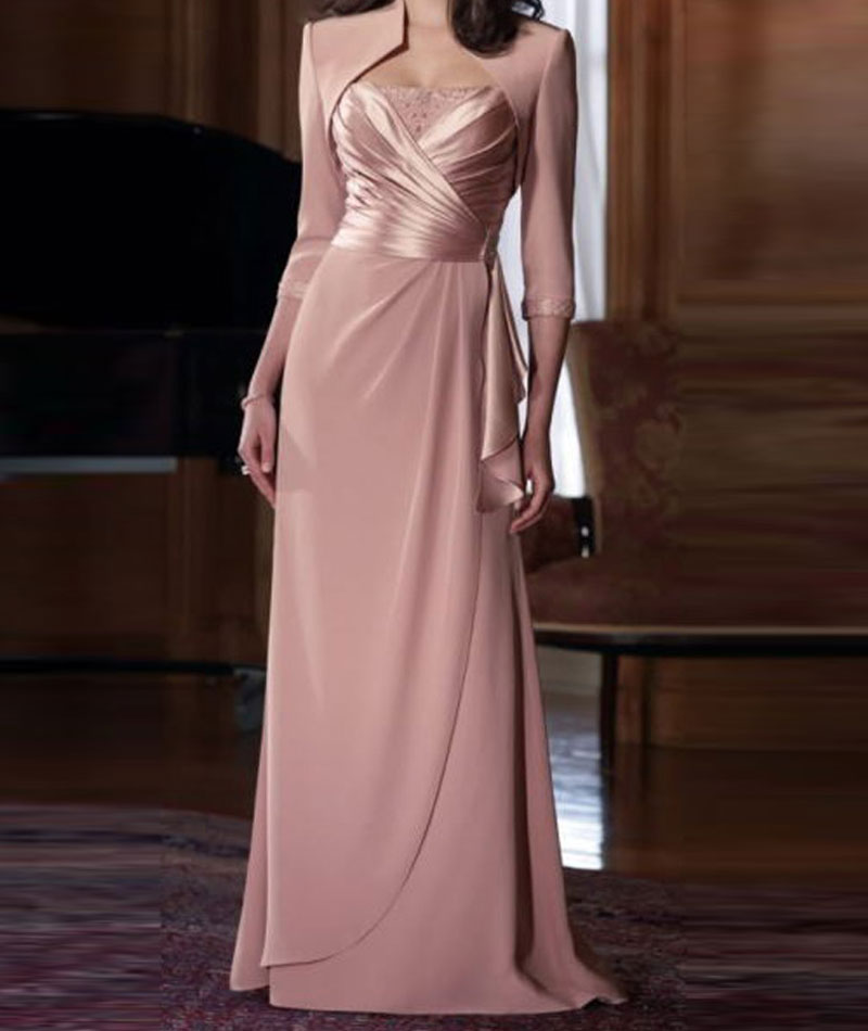 2016 New Sexy Spaghetti Mother Of The Bride Dresses Neck Chiffon Straps 3/4 Sleeves Floor Length With Jacket Formal Evening Gown