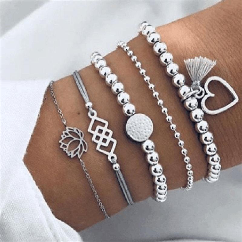 NEWBUY 5Pcs/Set Vintage Silver Color Bohemia Jewelry Fashion Lotus Heart Beads Charm Bracelets For Women Girl Birthday Gift