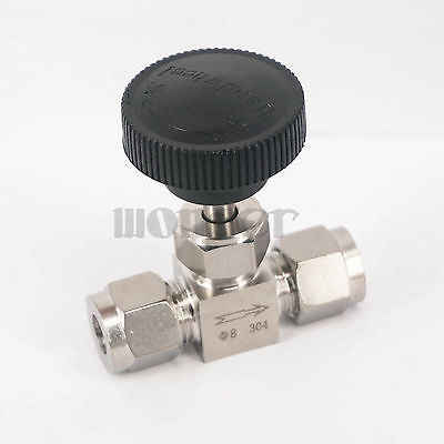 Cocok 8 Mm OD Tabung 304 Stainless Steel Mematikan Kontrol Aliran Needle Valve Compression Fitting 915 Psi