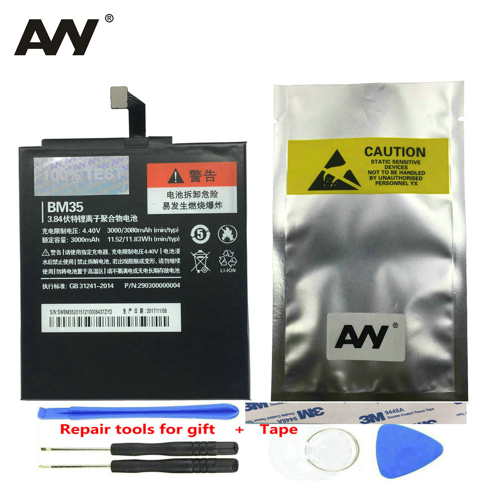 AVY Replacement Battery <font><b>BM35</b></font> For <font><b>Xiaomi</b></font> Mi 4C <font><b>Mi4C</b></font> Mobile Phone Rechargeable Accumulator Batteries 3000mAh 3080mAh 100%Test image