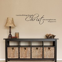 I Can Do All Things Through Christ Inspirational Quote Bible Scripture Vinyl Wall Decal Sticker 15 x57