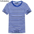 Men T shirts New Fashion Blue White Striped Tops O-neck Cotton Short-sleeved Slim T-Shirt Man and Women Tees Plus Size M-5XL
