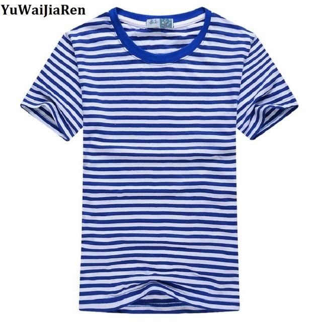 ed349278b € 6.95 25% de DESCUENTO|YuWaiJiaRen hombres camisetas azul blanco rayas  Tops cuello redondo algodón de manga corta Camiseta Slim hombre y mujer ...