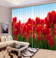 Customize Stereoscopic Red flower Curtains For Bedroom Blackout Flower branch Window Curtains Beautiful Photo 3D