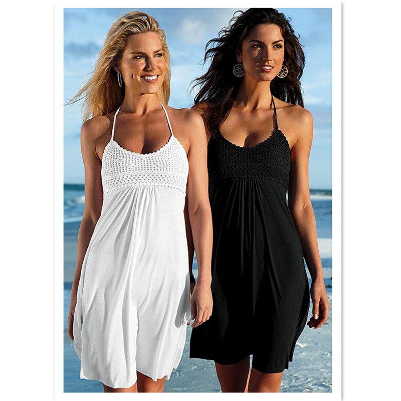 fbc16ecc9fc Women Summer Halter Dress Beach Wear Dress Handmade Bust and Smocked Back  Braces Skirt Swimwear Cover