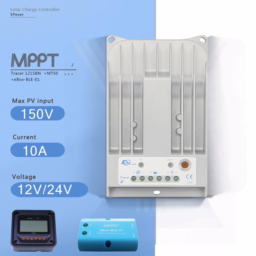 Tracer 1215BN 10A MPPT Solar Charge Controller 12V/24V Auto Solar Panel Battery Charge Regulator with EBOX-BLE and MT50 Meter tracer mppt 30a solar charge controller lcd12 24v solar panel solar regulator epsolar gel battery option with remote meter mt50