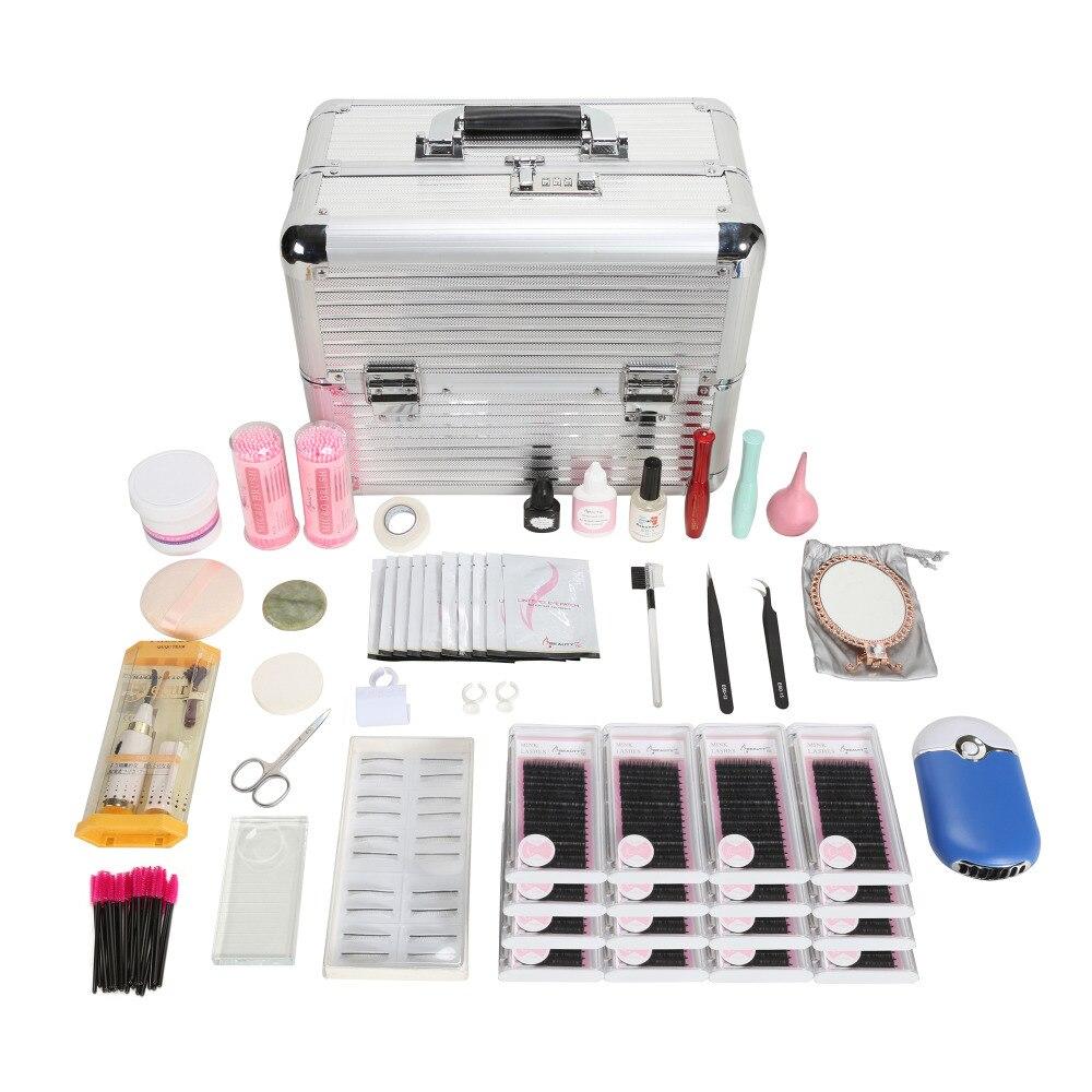 Fashion Eyelash Extension Kit Makeup Set Individual False Eyelash Glue Tweezer Tools Cosmetic Kit Bag/Case Practice Graft Lashes