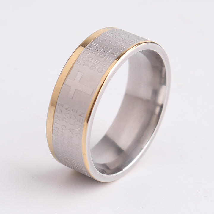 free shipping 8mm Carving Bible Cross Double gold color side 316L Stainless Steel finger rings for men wholesale