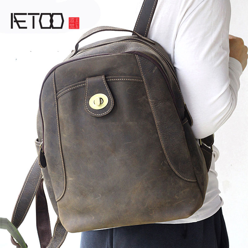 AETOO New men and women bag shoulder bag leather fashion trend mad horse leather bag aetoo women retro shoulder bag fashion handbags europe and america shoulder bag head layer cowhide mad horse shopping bag