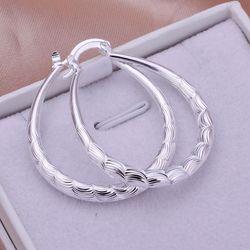 Gümüş kaplama küpe moda takı küpe güzel küpe yüksek kalite küçük oval eşkenar dörtgen doku küpe hx ho