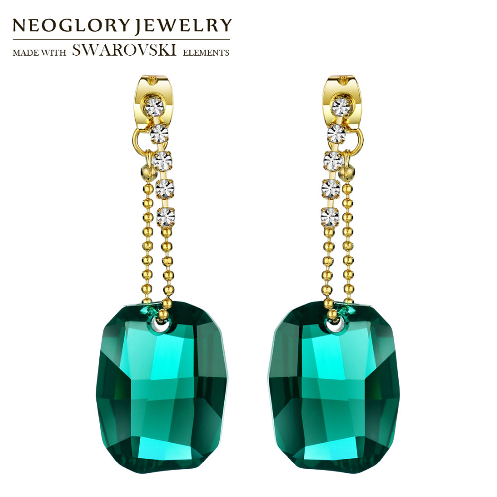 Neoglory MADE WITH SWAROVSKI ELEMENTS Crystal & Rhinestone Drop Earrings Classic Vintage Green Stylish Luxuriant Elegant Party square rhinestone floral drop earrings