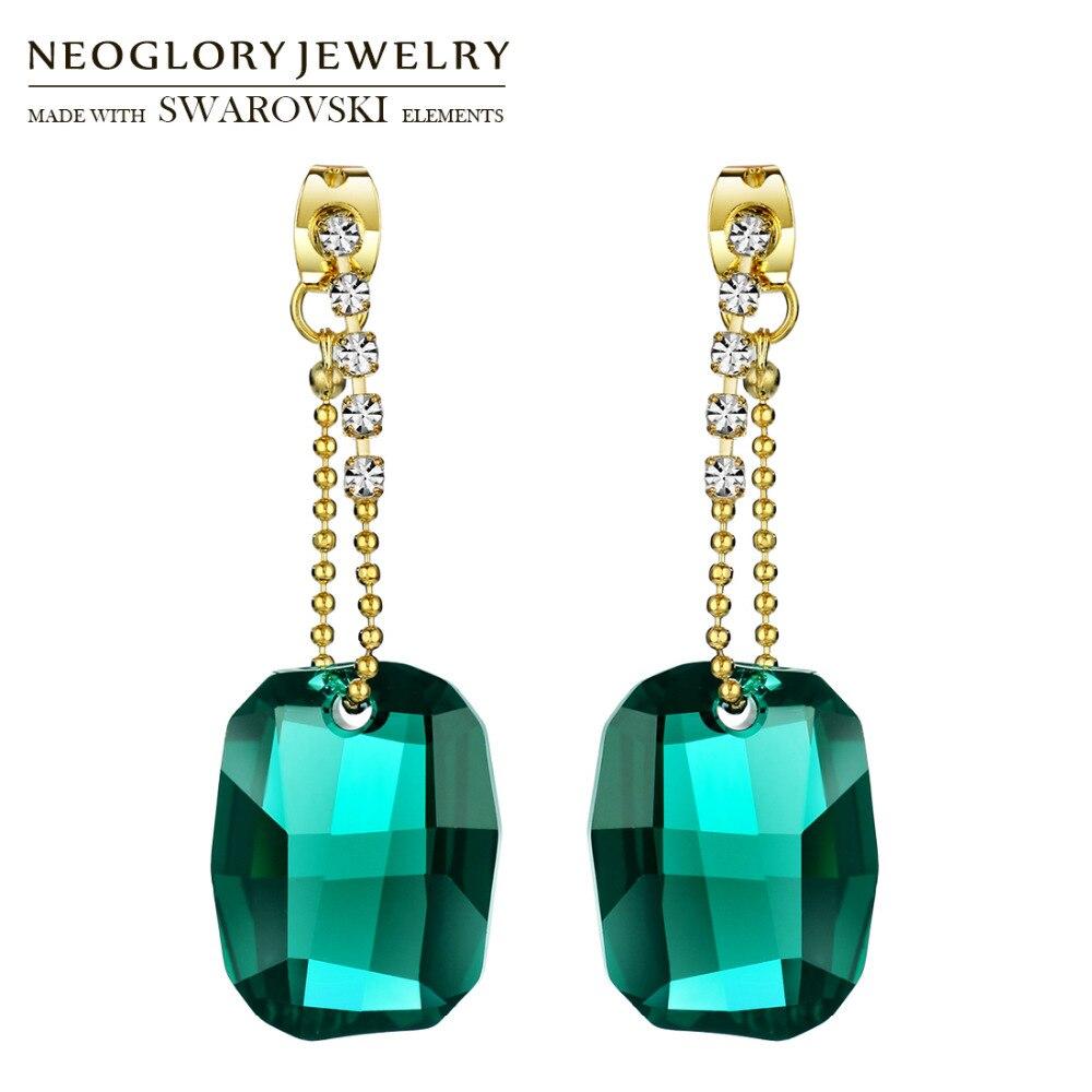 Neoglory MADE WITH SWAROVSKI ELEMENTS Crystal & Rhinestone Drop Earrings Classic Vintage Green Stylish Luxuriant Elegant Party цена 2017