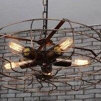 אמריקאי כפרי לופט ברזל כלוב מסעדת תליון אור Creative מאוורר אור אוכל חדר אמנות אדיסון נורות קישוט אור