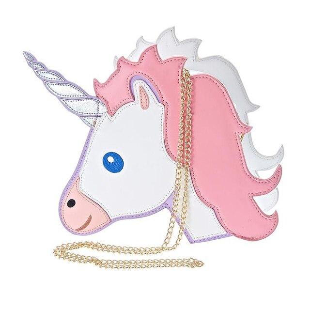 Fun fashion personality fashion trends laser unicorn modeling mini chain shoulder bag ladies handbag messenger bags purse