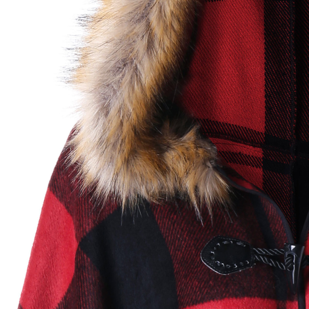 VESTLINDA Plus Size Plaid High Low Hooded Cloak Fashion Women Hooded Capes Autumn Winter Red Black Cape Coat Trench Coat 5XL 4XL 4