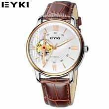 EYKI 2016 de Marcas De Lujo Hombres Reloj Mecánico Automático de Cuero Genuino de Negocios Informal Reloj Masculino Relogio Del Reloj EFL8641