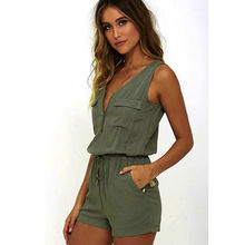Jumpsuit Women Summer 2018 New Ladies Sexy Sleeveless Playsuit Solid Casual Beach Jumpsuit Romper Freeship F#J07(China)