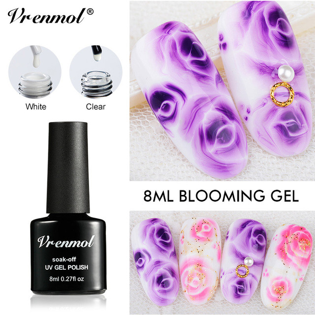 Vrenmol 1pcs Blossom Flowers Painting Draw Gel Lacquer White Clear Nail Art Design Blooming Effect