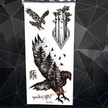 Forest Timber Eagle King Temporary Tattoo Stickers Birds Design Fake Black Tatoo For Men Body Arm Waterproof Flash Tattoo Decals(China)