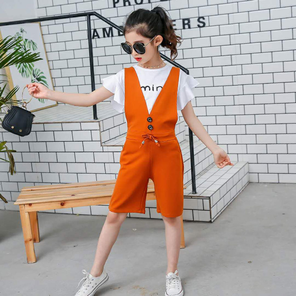 2018 Baby Girls Romper Toddle Kids Clothes Solid Rompers Overall +Short Sleeve T-shirt 2Pcs Summer Newborn Baby Girl Clothing