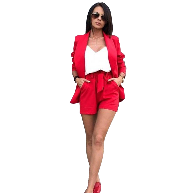 MVGIRLRU Spring Summer Women Two Piece Set Blazer Jacket + Shorts Female Office Lady Suit Women's 2 Piece Set