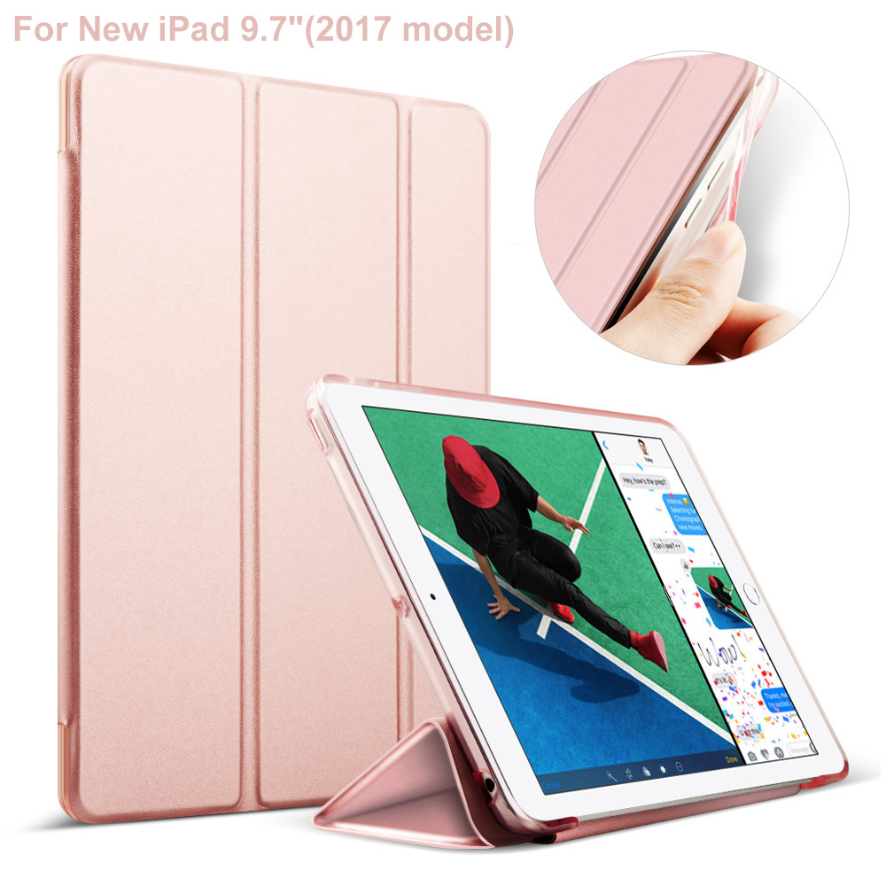 For iPad 9.7 Soft TPU Edge Hard Back Cover Leather Case For iPad 9.7 inch 2017 Version New Auto Sleeping/Wakeing Up Mode for ipad mini4 cover high quality soft tpu rubber back case for ipad mini 4 silicone back cover semi transparent case shell skin