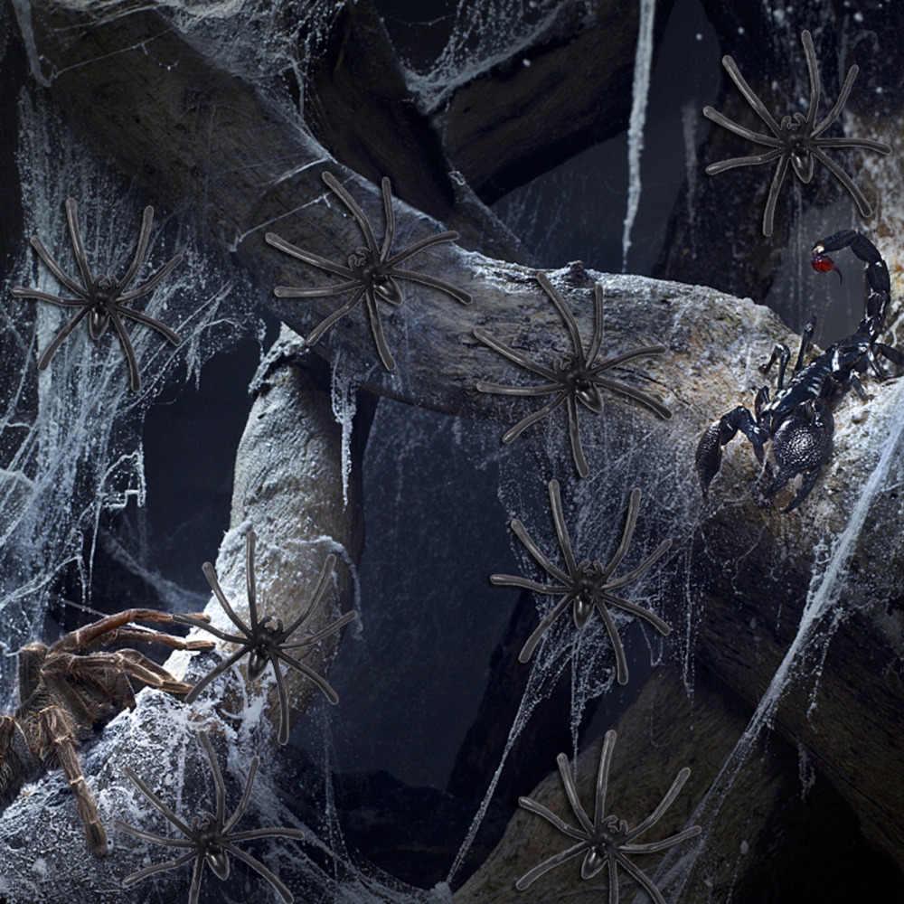 100 шт Пластиковый ненастоящий паук практичные шутки Реалистичная бутафория паук для розыгрышей декор для Хэллоуина, вечеринки