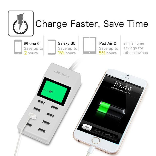 US EU UK Multi 8 USB Ports Travel Plug + Lcd Screen Voltmeter Smart Wall AC Power Charger Cell phone for iphone Tablet Samsung