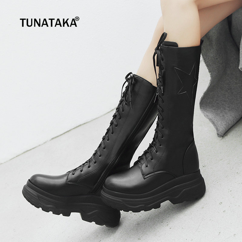 Flat with Knee High Boots Women Platform High Heel Fashion Ladies Boots Lace Up Autumn Winter Pu Woman Shoes Plus Size 2018 New nemaone fashion women s lace up knee high boots lady autumn winter high heels shoes woman platform yellow black white high boots