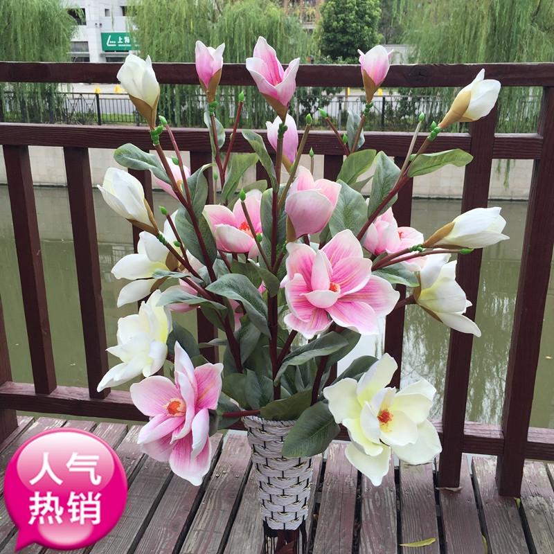 flores de simulacin de flores de magnolia arreglo floral decoracin del hogar rama alta de plstico