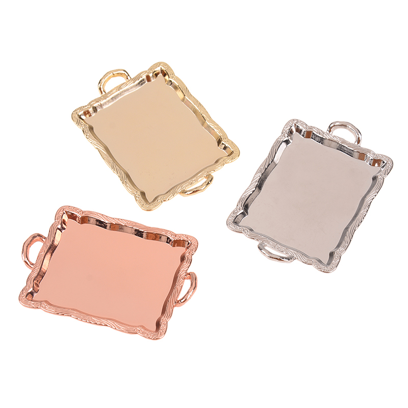 1/12 Dollhouse Miniature Accessories Mini Metal Plate Simulation Tray Model Toys For Doll House Decoration Baby Furniture Toy