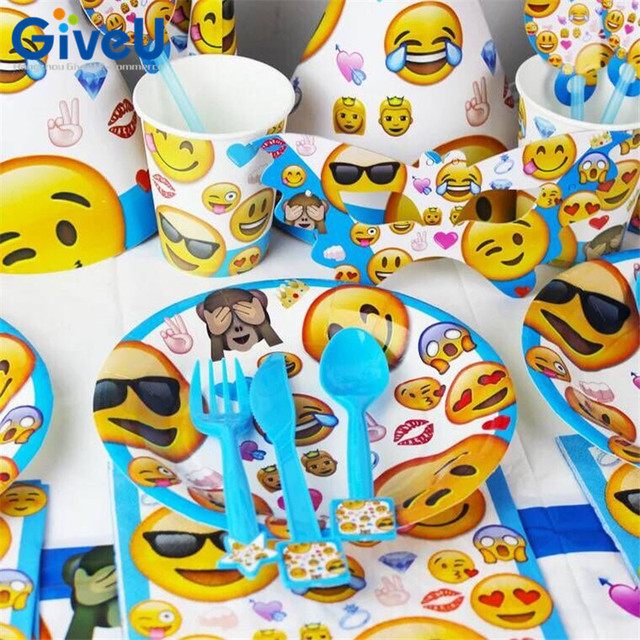 GiveU 90pcs Cartoon Emoji Birthday Party Supplies Kids Favors Paper Plates Cups Tableware Napkins Straws Candy Box Decor