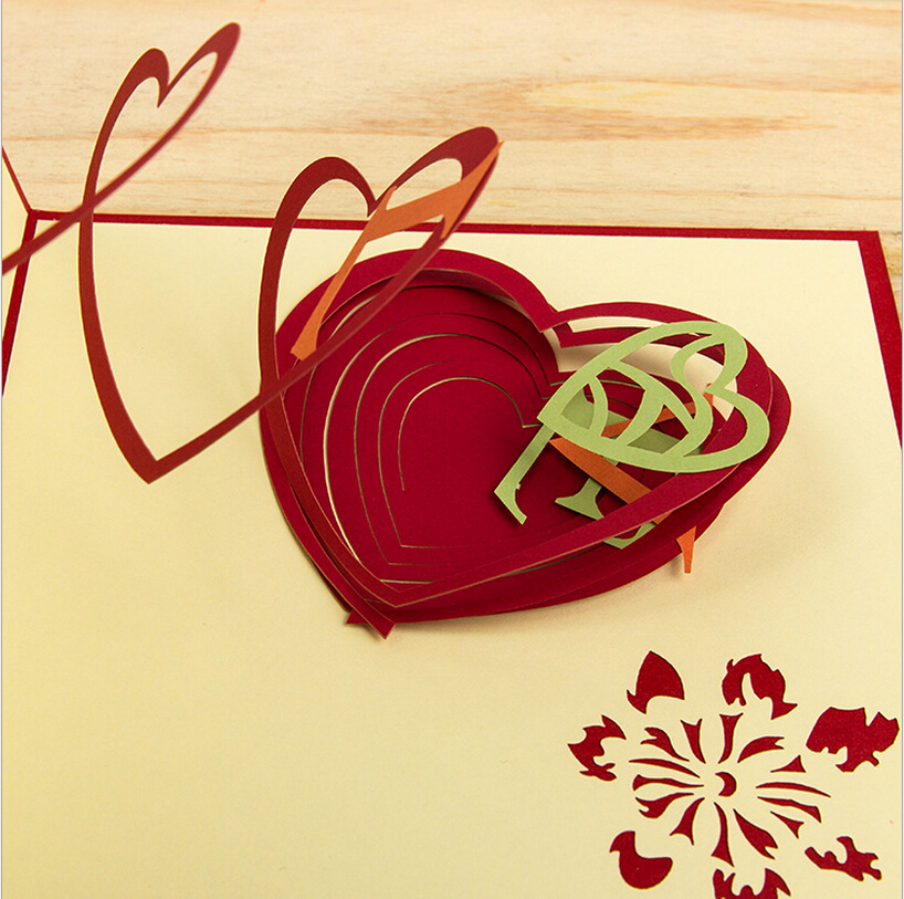 Hollow Out Heart Design Red&Green Handmade 3D Pop UP Cards With ...
