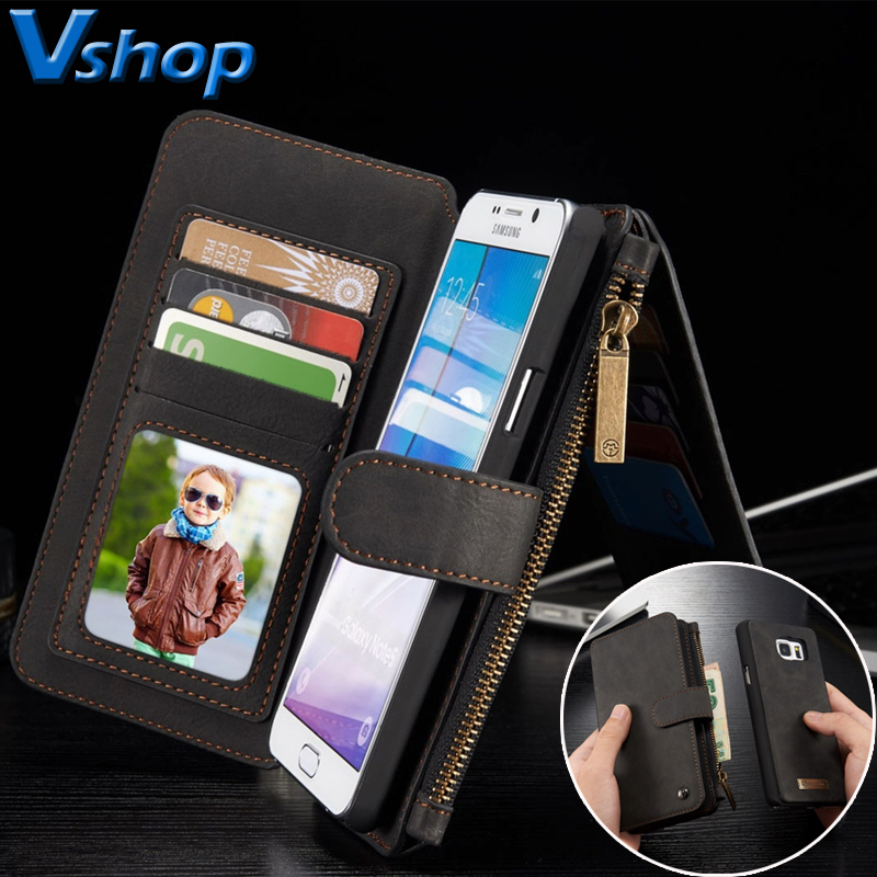 for Samsung Galaxy S6 Phone Cover Multifunctional Leather Billfold with Detachable Magnetic PC Protective Smartphone Case Cover smartphone