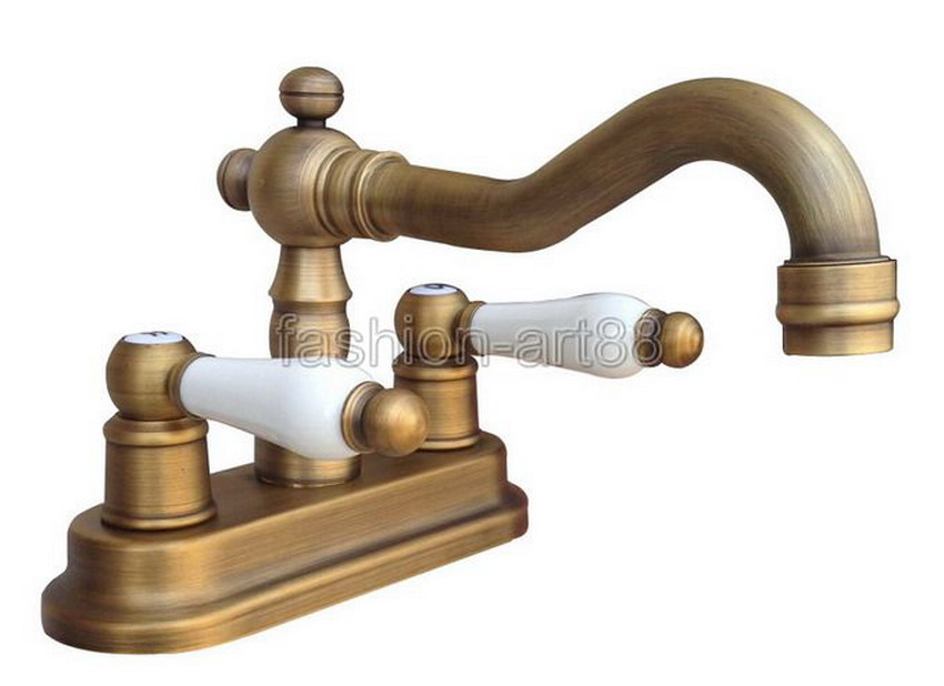 ФОТО Vintage Retro Antique Brass Kitchen Bathroom Vessel Sink Two Holes Faucet Dual Ceramics Handles Water Tap anf326