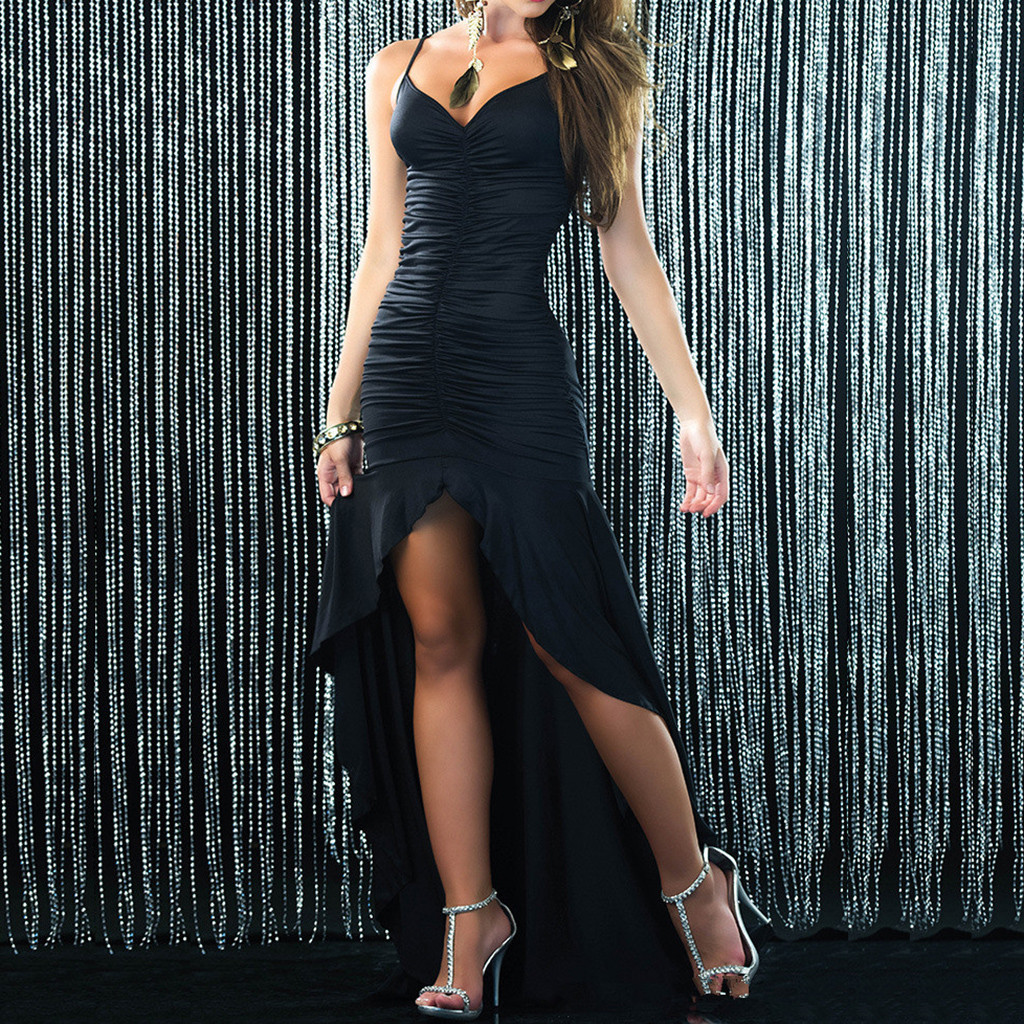 Women Sexy Solid Dress Sleeveless Irregular Long Dress Summer Party Cami Dresses Fashion dresses woman party night Dropshippin