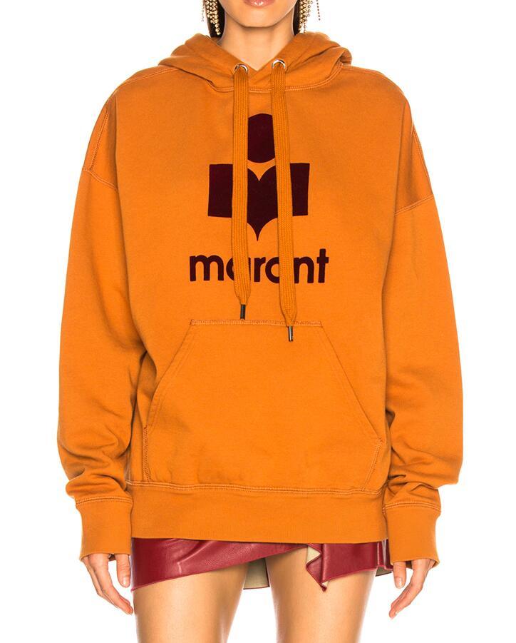 2018 темно оранжевый мансел негабаритных толстовка логотип спереди DROP SHOULDER Drawstring толстовки Длинные рукава с трапеция карман