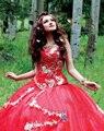 Vermelho Longo Trem Vestidos Quinceanera Vestidos De 15 Años Luxo Querida Apliques Frisados vestido de Baile Vestidos Quinceanera 2017