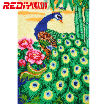 Latch Hook Rug Crocheting Tapestry Kits for Embroidery Cushion Peacock with Flowers Pillow Carpet Rug Handicraft Gift Floor Mat
