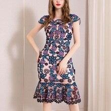 オフィスパッケージヒップドレス 3xl 春 2019 レディース女性膝丈フラワーパーティードレスプラスサイズのヴィンテージ刺繍ドレス夏