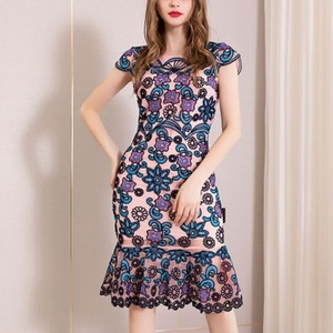 Image 1 - משרד ירך חבילת שמלת 3xl אביב 2019 גבירותיי נשים הברך אורך פרח מסיבת שמלה בתוספת גודל בציר רקמת שמלות קיץ