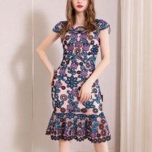 Office Package hip dress 3xl Spring 2019 ladies Women Knee Length Flower Party Dress Plus Size Vintage Embroidery dresses Summer