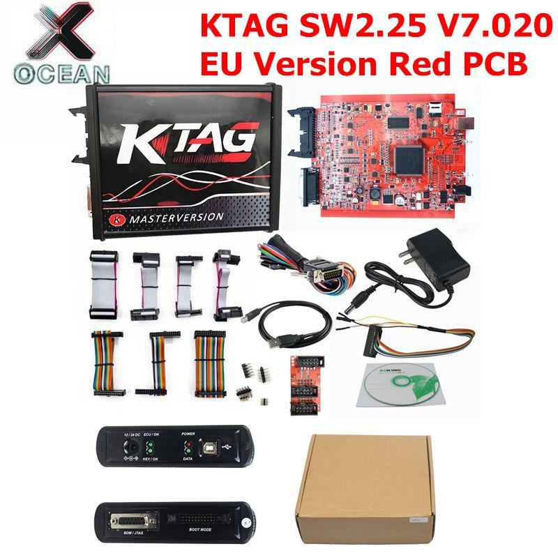 2020 Neueste EU Rot ECM Titan KTAG V 2,25 V 7,020 4 LED Online Master Version ECU OBD2 Manager auto /lkw Programmierer