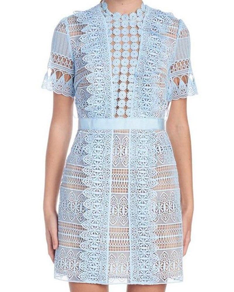 2019 새로운 도착 라이트 블루 레이스 드레스-에서드레스부터 여성 의류 의  그룹 1