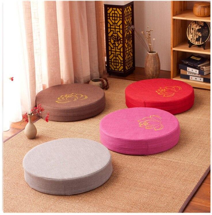 HTB1.lBRe8Kw3KVjSZTEq6AuRpXa2 Japanese-style futon worship Buddha sitting cushion fabric washable round linen balcony window tatami mat meditation lotus