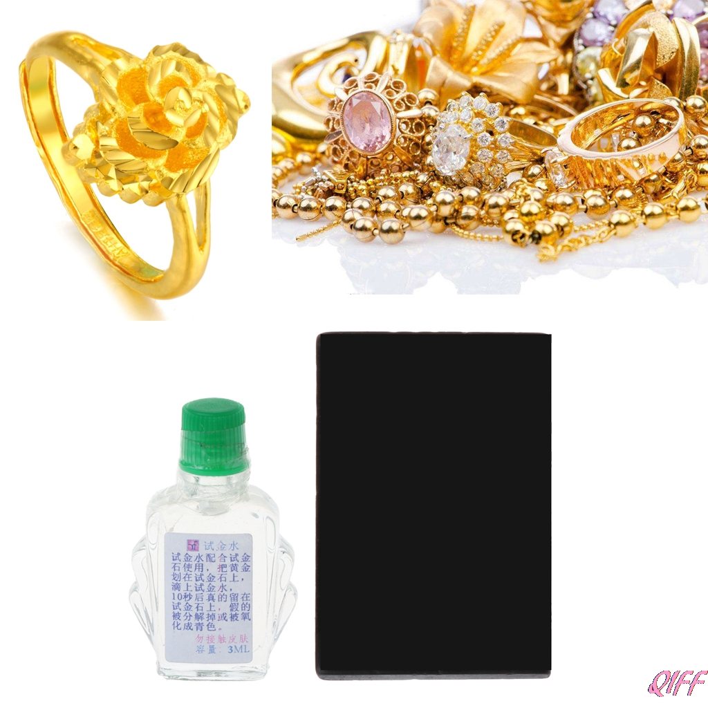 Practical Acid Test Kit Silver Platinum Gold Testing Touchstone Jewelry Tool Set