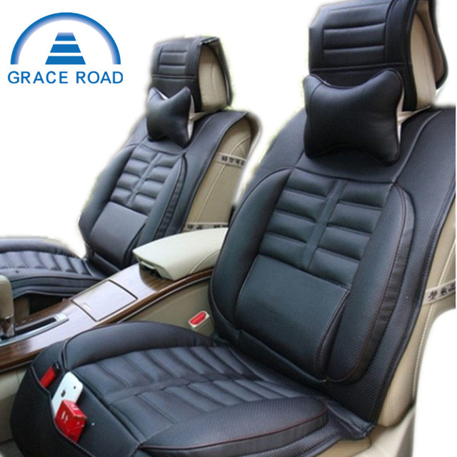 2 Headrest As Gift High Quality Danny Leather Car Seat Cover Universal Covers Black
