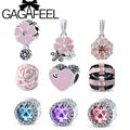 GAGAFEEL 2016 New Sparkling Primrose Pink Blue Purple CZ Charm Beads Fit Pandora Bracelet DIY Jewelry for Women Birthday Gift