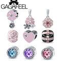Prímula GAGAFEEL 2016 Nova Espumante Rosa Azul Roxo CZ Charme Beads Fit Pandora Bracelet DIY Jóias para Presente de Aniversário Mulheres