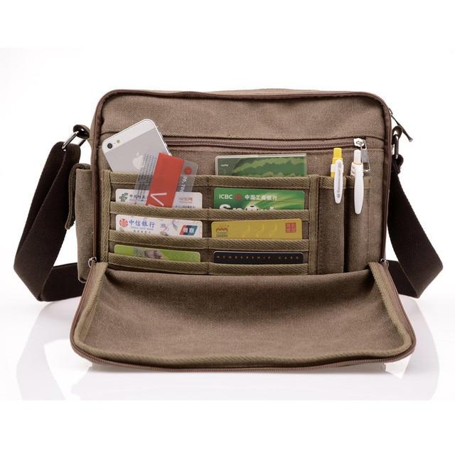 High Quality Multifunction Men Canvas Bag Casual Travel Bolsa Masculina Men's Crossbody Bag Men Messenger Bags 2